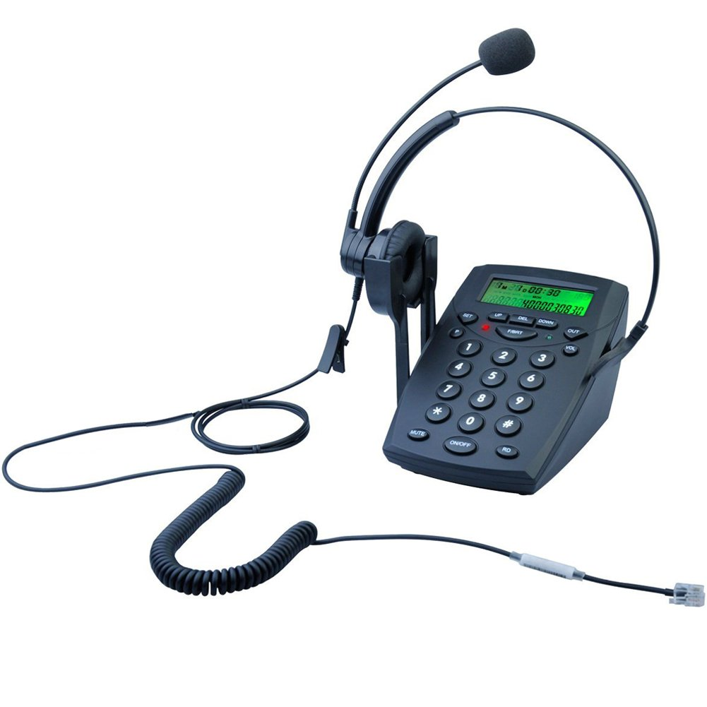 LeeKer LK-P023B Call Center Dialpad Corded Headset Telephone with Caller ID Office Desk Phone Landline(Black)