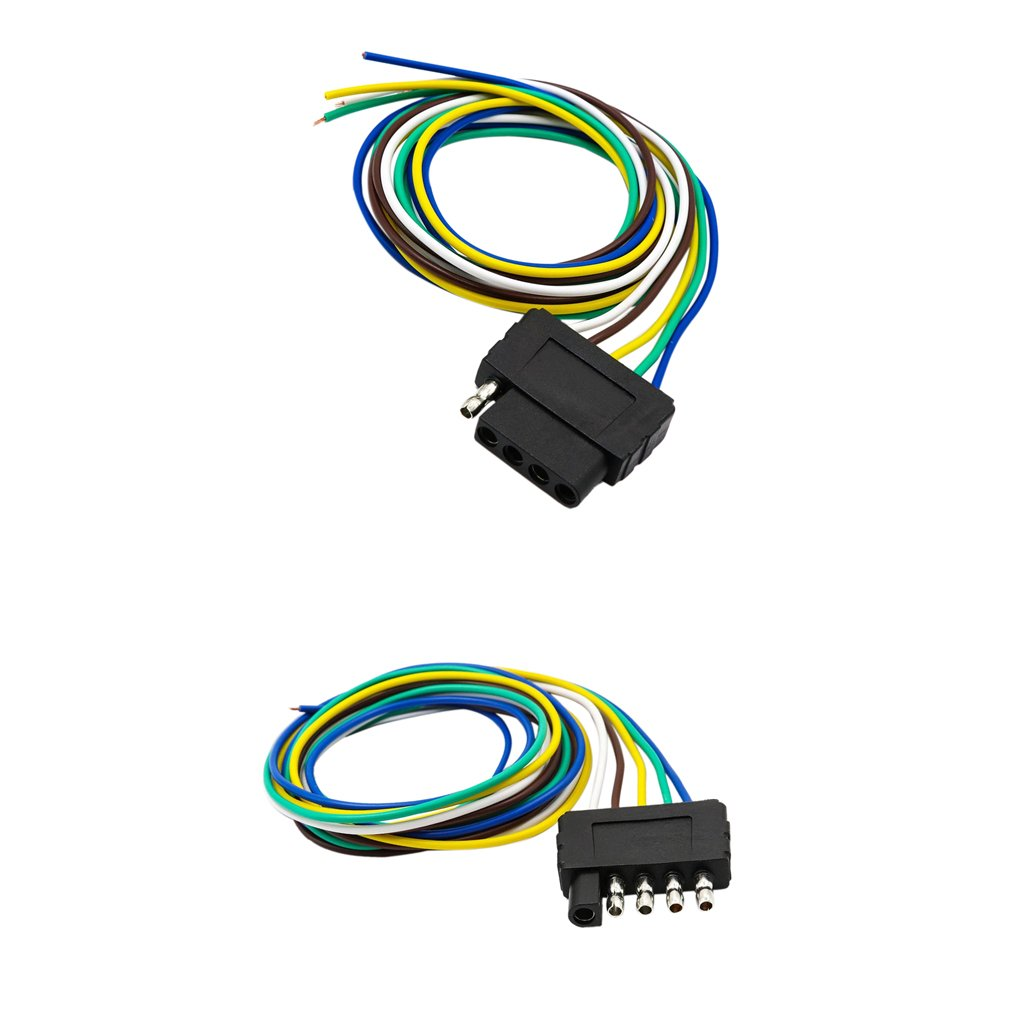 Durable Modeling Monkeyjack 2 Pieces 5way 5 Pin Flat Trailer Wire Wiring Harness Extension Connector Socket