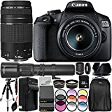 Canon EOS 1500D/Rebel T7 w/ 18-55mm Lens, 75-300mm Lens, 500mm Telephoto Lens and 16pc Accessory Bundle – Includes 32GB SD Memory Card + Deluxe Backpack + MORE - International Version (No Warranty)