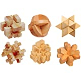 Wooden Burr Puzzles Interlock Blocks Brain Teaser Assembly & Disentanglement Toys for Kids and Adults Set of 6 with Instruction (88cm, Beige)