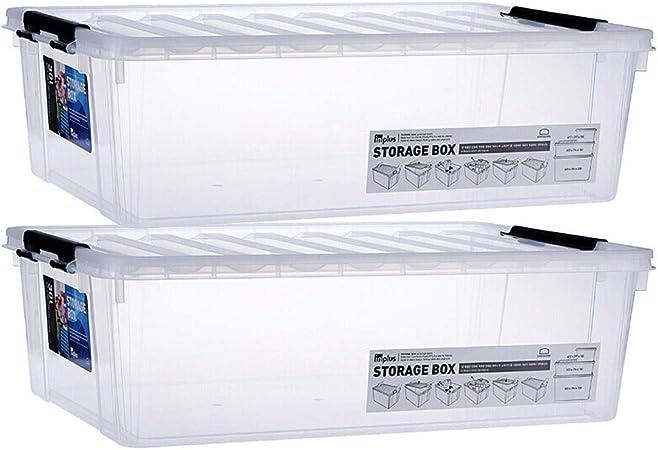 Caja almacenaje Caja de plástico de almacenamiento, ropa Caja de almacenamiento, Bottom Bed Caja de almacenamiento, caja de almacenaje del juguete, 15L transparente * 2 cajas almacenaje plastico: Amazon.es: Hogar