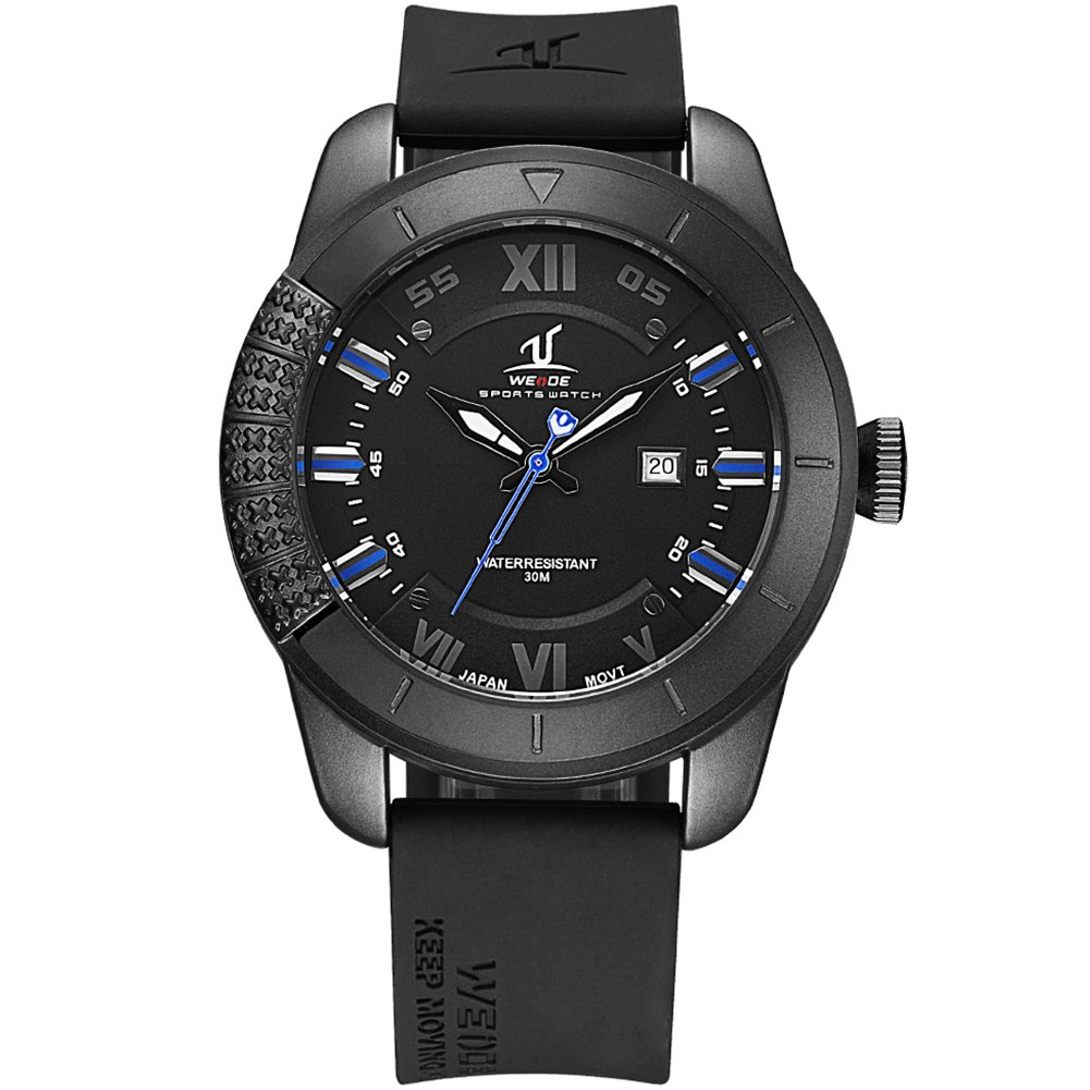 VOEONS Men's Black Silicone Classic Sport Watch Waterproof Analog Quartz Rubber Wrist Watches for Men with Calendar