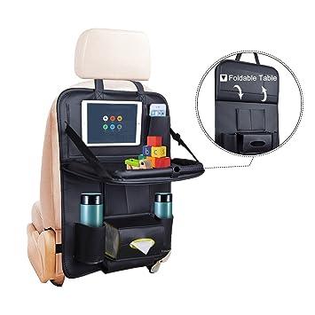 Amazon.com: Car Seat Back Organizer Baby Table - PU Leather Backseat ...