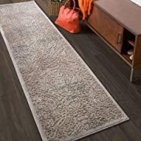 Nourison Graphic Illusions Grey Antique Damask Pattern Rug (23 X 8)