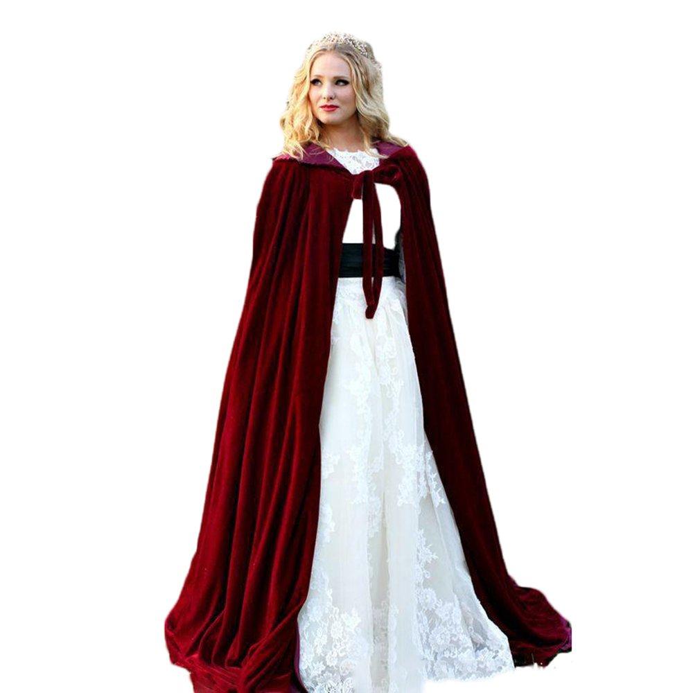 Dressart Red Velvet Winter Women Wrap Cape Fur Wedding Coat Jacket for Bridal