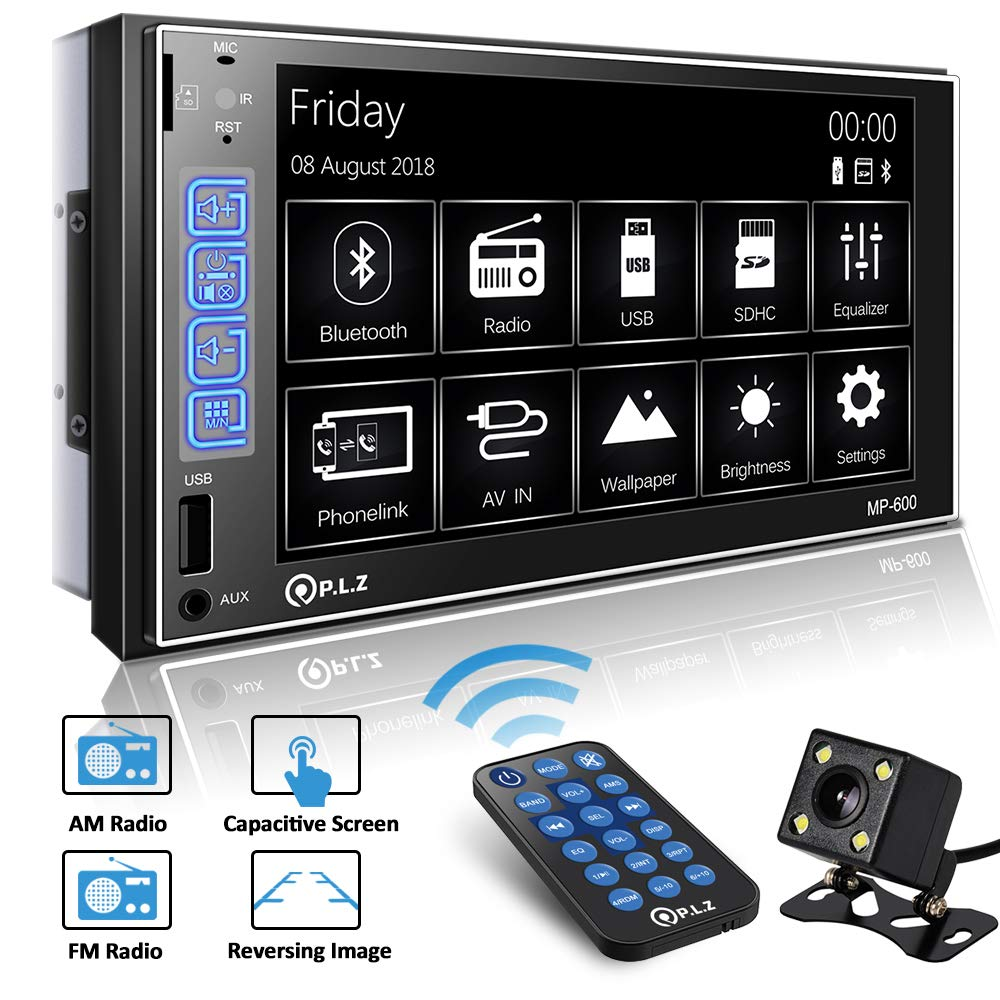PLZ Double Din Car Stereo In-dash Digital Media Car Stereo Receiver with Bluetooth, 7'' Capacitive Touchscreen Digital LCD Monitor, MP5 Player/FM/Am/TF/USB/Aux-in, Remote and Backup Camera Included by PLZ