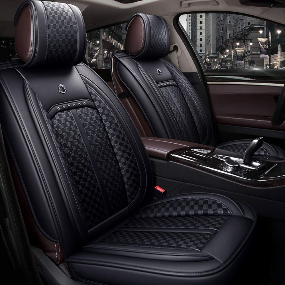 Mopow Luxury Car Seat Cover(Special Leather High-Grade in Texture) Full Set Car Interior Protector Rear Seat Cover Adjustable (16-BK)