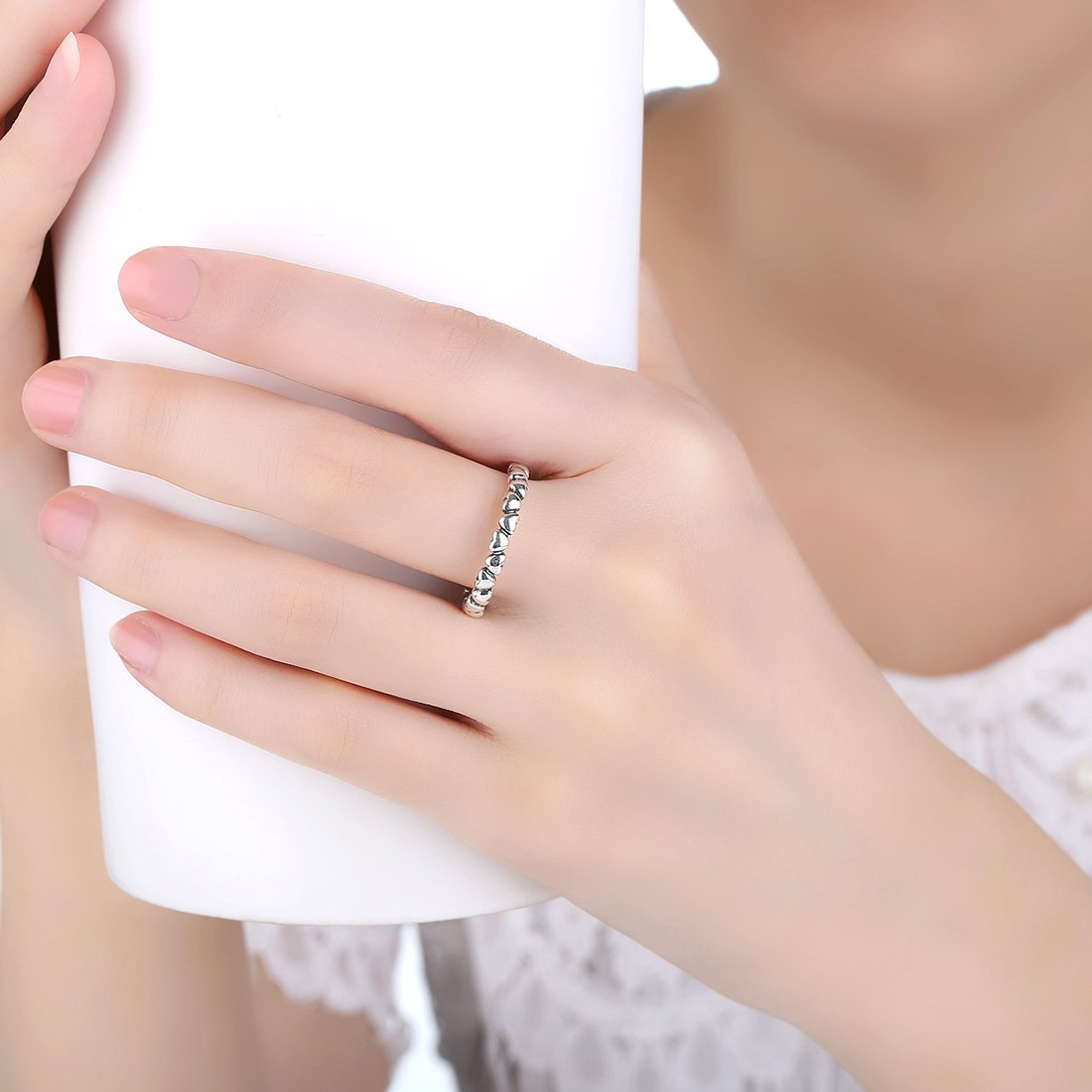 BAMOER 925 Sterling Silver Endless Love Heart Stacking Ring for Women Teen Girls Birthday Anniversary Gift Size 6-9 (7) by BAMOER (Image #6)