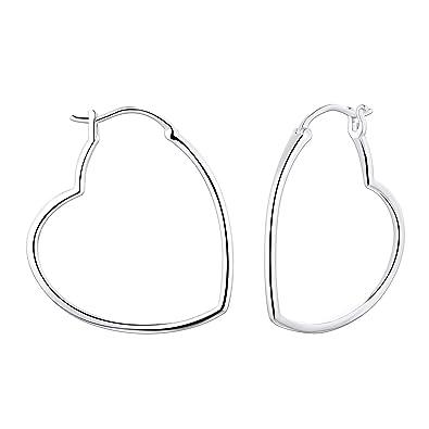 b23abd038 YL 30MM Hoop Earrings Sterling Silver Polished Heart Endless Earrings  Dangle Hoops Diameter Jewelry