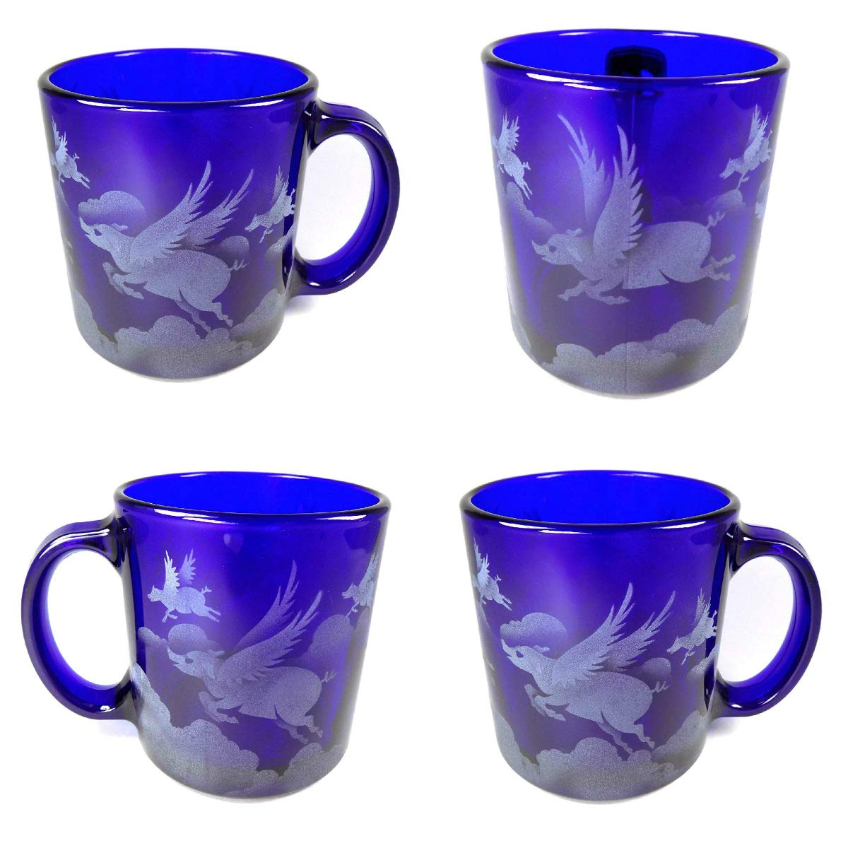 IncisoArt Hand Etched Coffee Mug Sandblasted (Sand Carved) Glass Handmade Engraved Pigs Flying Over Clouds (4, Cobalt Blue Pigs Flying Over Clouds)
