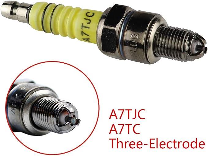 Color : Red BUJ/ÍA Spark Plug 1pc CR7HSA ATRTC 3 electrodos for GY6 50cc-150cc Moto Scooter de 10 mm Spark Plug Accesorios