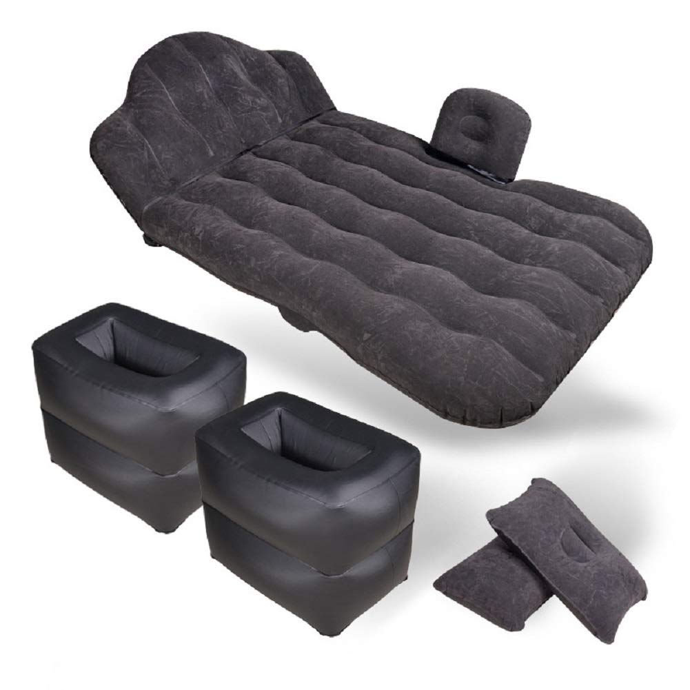 Colch/óN del Reposacabezas del Coche Cama De Viaje Portable Cama Inflable del Coche Flocado 180 * 90 Cm,Black