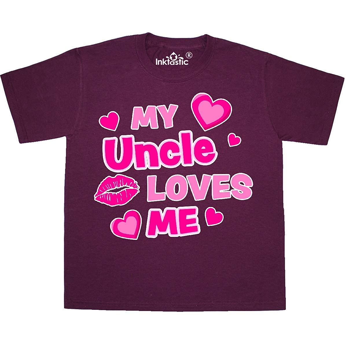 inktastic My Uncle Loves Me with Hearts and Kiss Baby T-Shirt