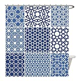 Liguo88 Custom Waterproof Bathroom Shower Curtain Polyester Arabian Decor Collection Arabesque Islamic Motifs with Geometric Lines Asian Ethnic Muslim Ottoman Element Blue White Decorative bathroom