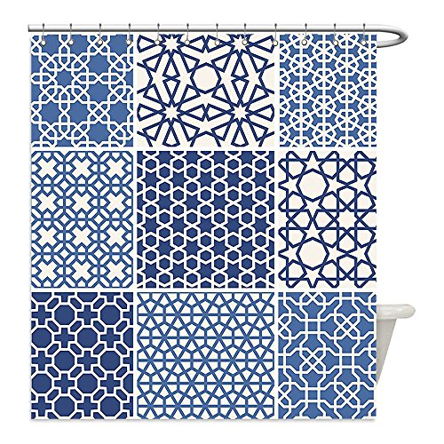 Liguo88 Custom Waterproof Bathroom Shower Curtain Polyester Arabian Decor Collection Arabesque Islamic Motifs with Geometric Lines Asian Ethnic Muslim Ottoman Element Blue White Decorative bathroom by liguo88