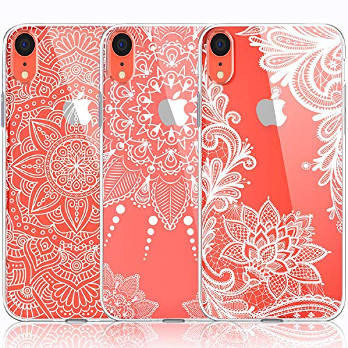 iPhone XR Case, [3-Pack] CarterLily Girls Mandala Henna White Flower Cute Art Pattern Soft Clear Flexible TPU Back Case for iPhone XR 6.1 Inch (White Flowers)