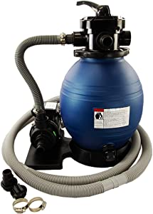 Rx Clear 12-Inch Sand Filter System with .33 HP Pump | 42 Pound Sand Capacity | Up to 8,500 Gallons | Including Pool Connection Hoses and Clamps