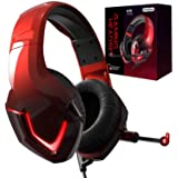 INHANDA PS4 Headset with Mic,K19 Gaming Headset,Xbox One Headset with Mic,Noise Cancelling,Memory Foam Earmuffs,LED Light,Gam