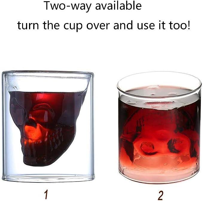 AIWEIYER Calavera Doble Cristal Vaso Tazas 6 Vasos de Chupito ...