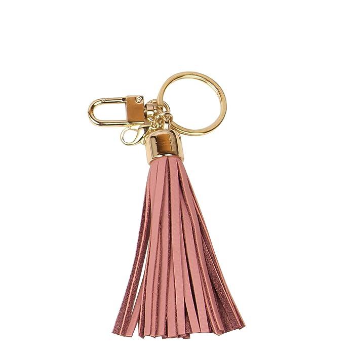 Leather Tassel Charm Women Handbag Wallet Accessories Key Rings (Indi-pink)