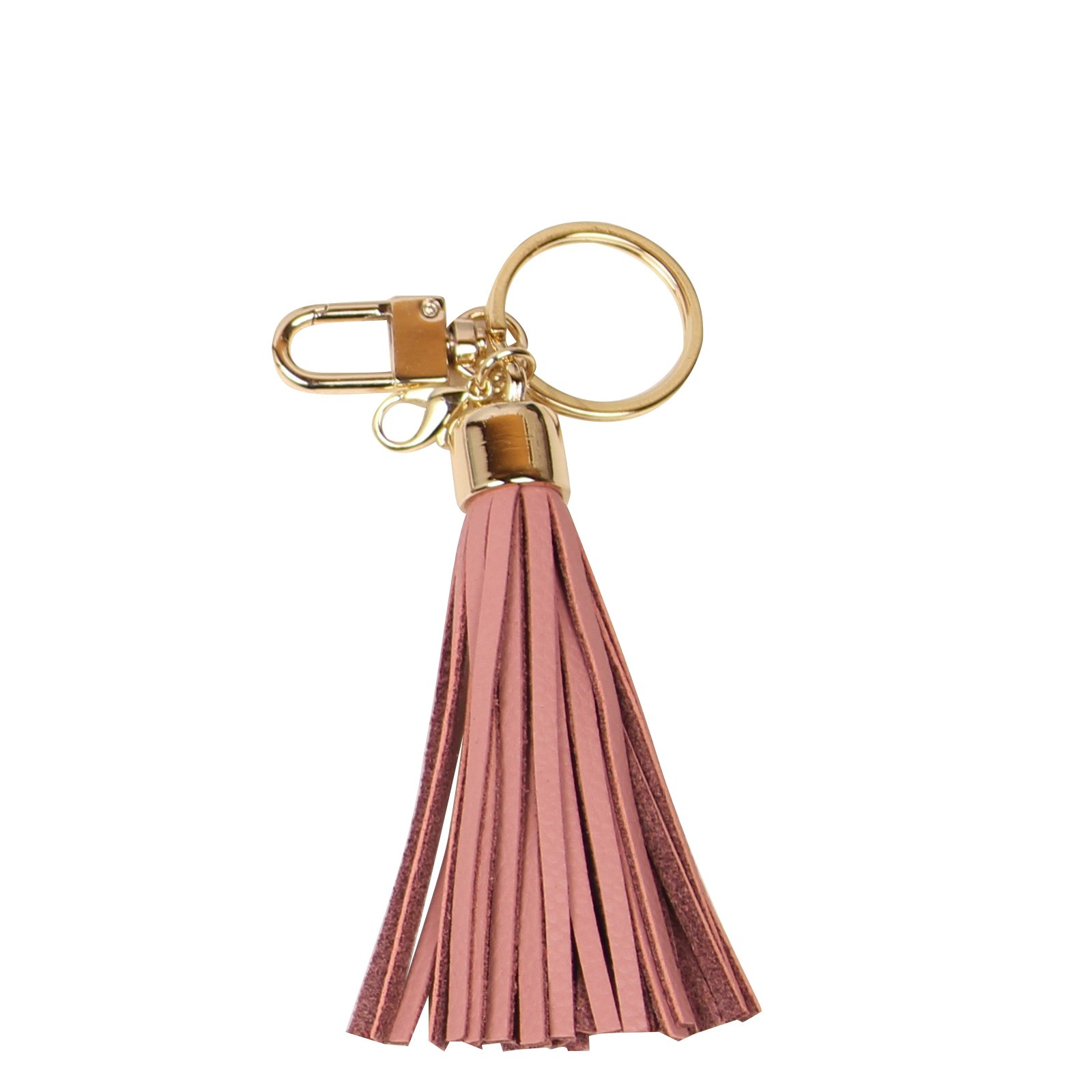 Leather Tassel Charm Women Handbag Wallet Accessories Key Rings (Indi-pink) by Beautyou