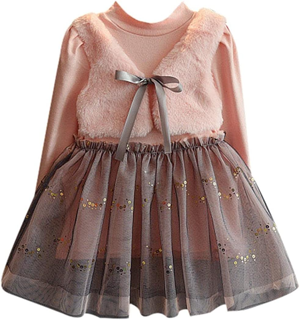 Amiley baby girl clothing Set Kid Girl Toddler Splice Long Sleeve Princess Dress 2017