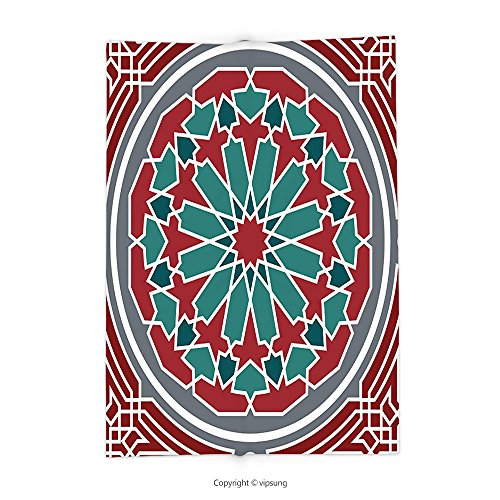 Custom printed Throw Blanket with Arabian Decor Collection Elegant Islamic Ethnic Old Style Ornate Persian Pattern with Victorian Touch Artprint Red Grey Teal Super soft and Cozy Fleece Blanket by vipsung