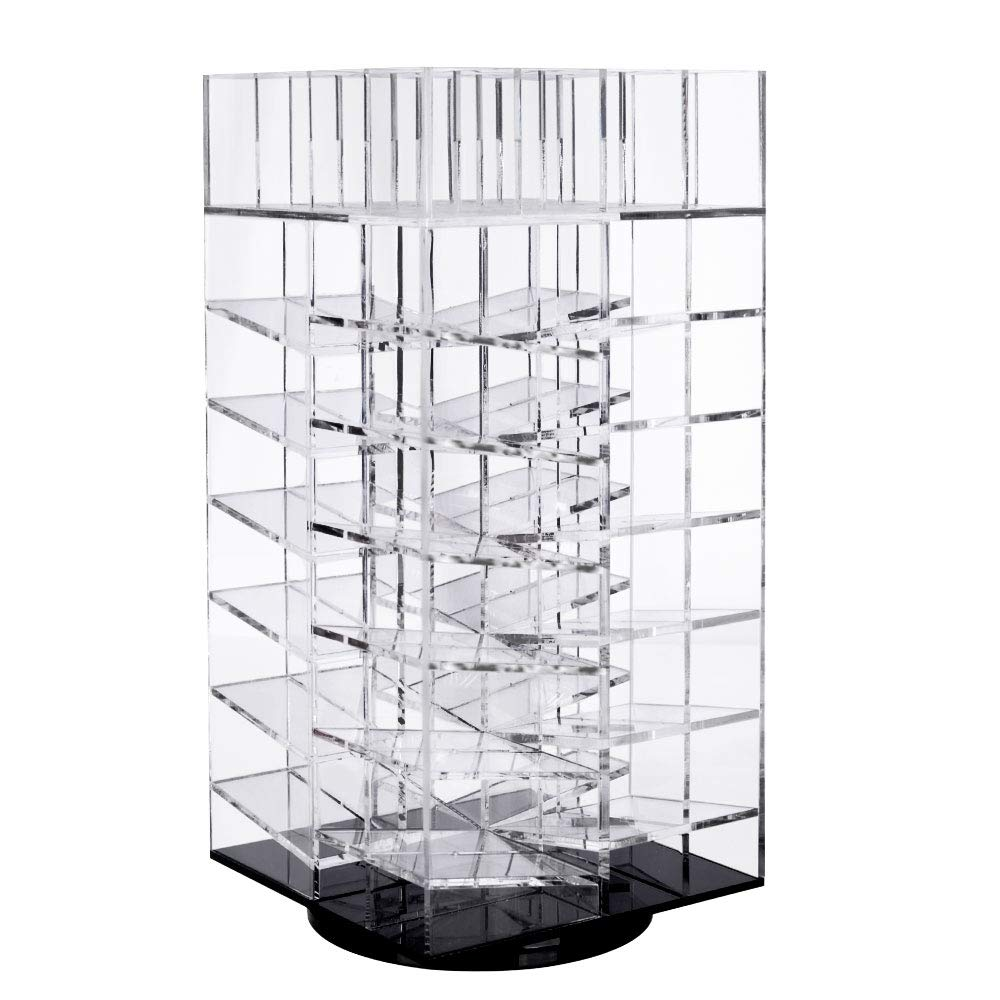 Lipstick Organizer, Alotpower Clear Acrylic Rotating 64 Lipstick Holder Cosmetic Holder Spinning Tower Makeup Organizer Lipgloss Stand