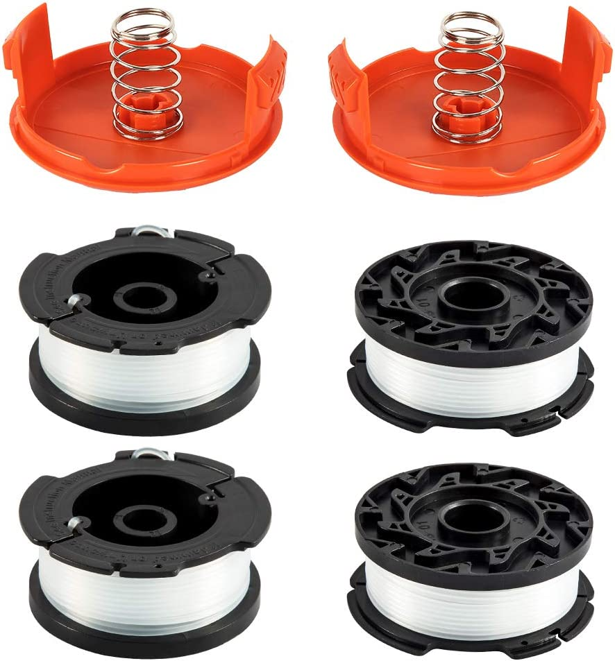 Amityke String Trimmer Spool Replacement for Black and Decker AF-100, 30 feet 0.06 inch Refills Line Auto Feed Single Weed Eater GH600 GH900 Edger with RC-100-P Spool Cap (4 Spools, 2 Caps,2 Springs)
