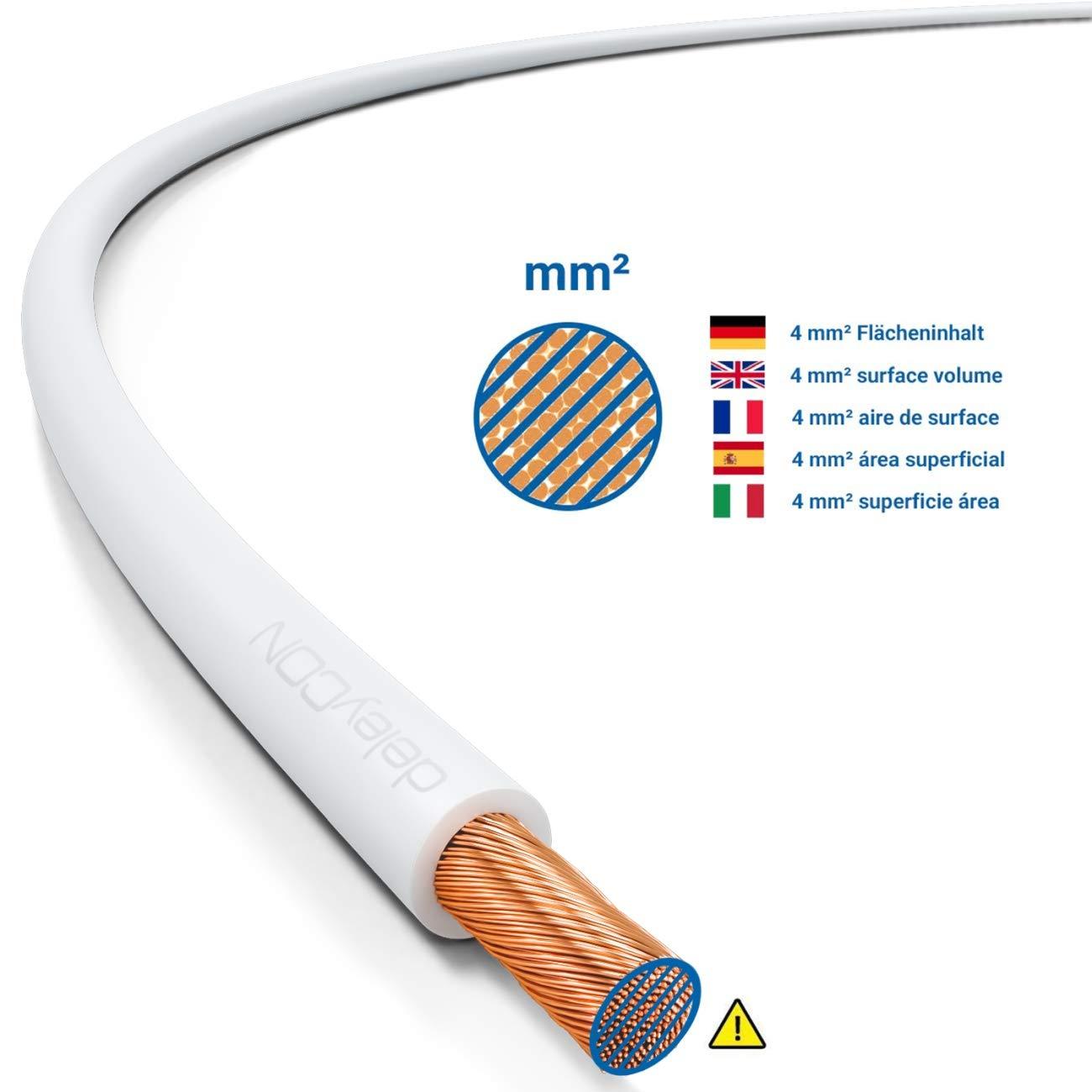 Negro deleyCON 30m de Cobre Cable de Altavoz 2X 4,0mm/² Cables de Foso Cable de Cobre S/ólido Aislado 99,9/% Pureza Marca de Polaridad 2x132x0,20mm Alambre Trenzado
