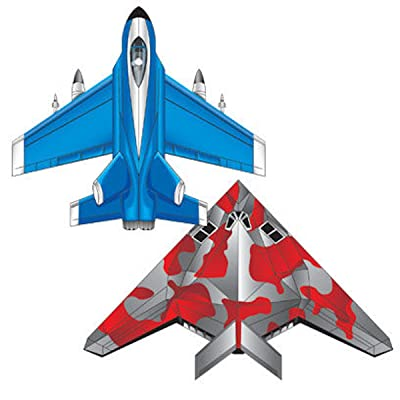 MicroKite 2 Pack, set of 2 Mini Mylar Kites, Fighter Jet and Stealth: Toys & Games