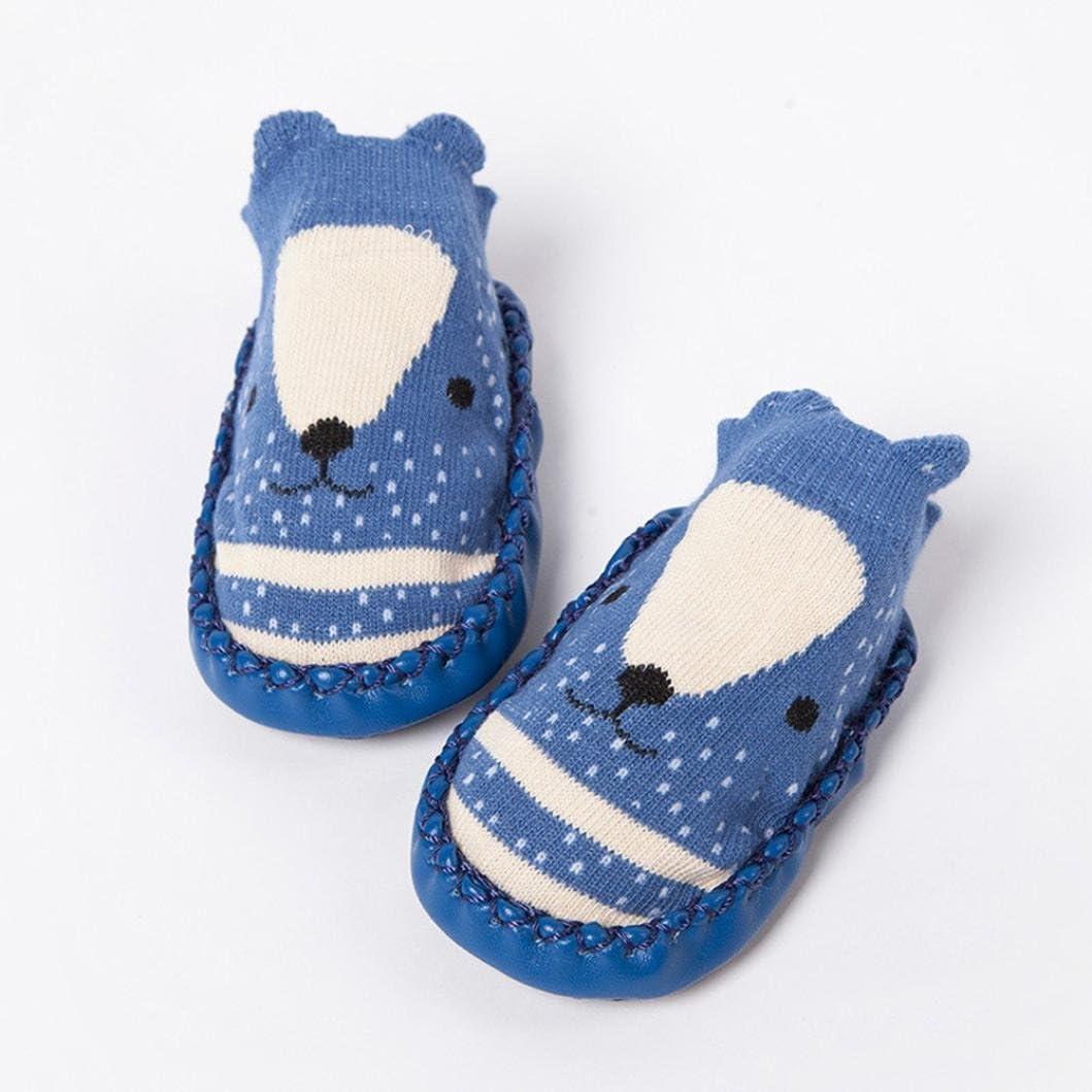 HUHU833 Cartoon Newborn Baby Girls Boys Anti-Slip Socks Slipper Bell Boots Fit 0-24 Months Baby