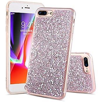 00a6963fba5 iPhone 8 Plus funda, iPhone 7 Plus funda Glitter caso brillante diamante  [soporta carga inalámbrica] [Hard PC back, TPU suave interno] funda  protectora para ...