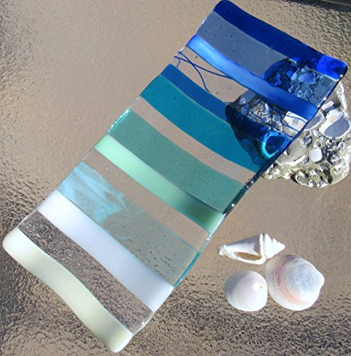 Ocean Beach Glass Plate Sea Glass Jewelry Keeper Fused Glass Sushi Plate Ocean Stripes Spoon Rest Turquoise Blue Sea Glass Appetizer Dish Ocean Waves Beach Glass Art Beach House ()