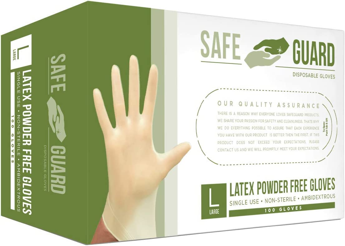 SAFEGUARD Latex Powder Free Gloves, Medium, 100 Count