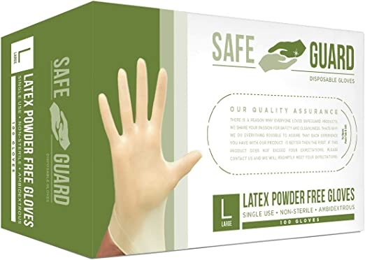 SAFEGUARD Latex Powder Free Gloves, Large, 100 Count