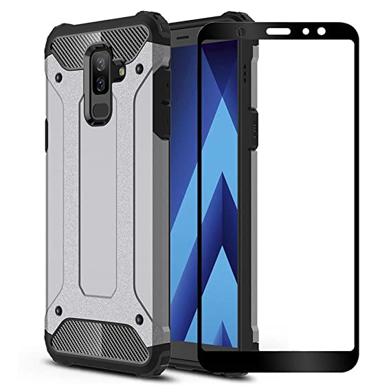 detailed look c727e 7ed75 Galaxy A6 Plus 2018 Case, ZHFLY [Heavy Duty] Shockproof Bumper Tough Rugged  Dual-Layer Protective Case Cover & 2.5D Tempered Glass Screen Protector ...