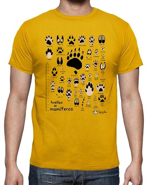 latostadora Camiseta Huellas de mamíferos ibéricos n. común - Camiseta Hombre clásica: by ribosoma bd: Amazon.es: Ropa y accesorios
