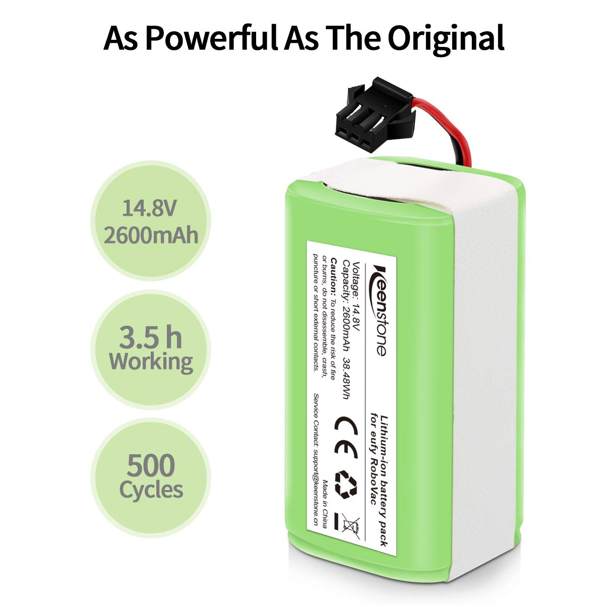 Keenstone 14.8v 2600mAh Li-ion Rechargeable Replacement Battery for Eufy Compatible with RoboVac 11, RoboVac 11S, RoboVac 11S MAX, RoboVac 15T, RoboVac 30, RoboVac 15C, RoboVac 12, RoboVac 35C