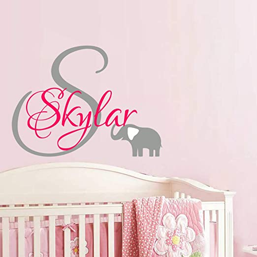 Vinyl Wall Decal Nursery Baby Girl Initial Monogram and Name w Cute Elephant
