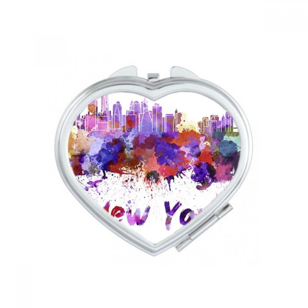 New York America Country City Watercolor Illustration Heart Compact Makeup Pocket Mirror Portable Cute Small Hand Mirrors Gift