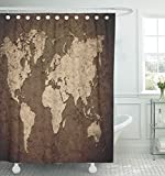 Emvency Shower Curtain 66''x72'' Polyester Fabric America Vintage World Map With Wall North Old Parchment Africa Aged Ancient Antique Waterproof Adjustable Hook
