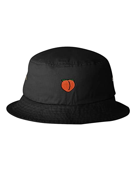 ef723a5a96be7 Amazon.com  One Size Black Adult Peach Emoji Embroidered Bucket Cap ...