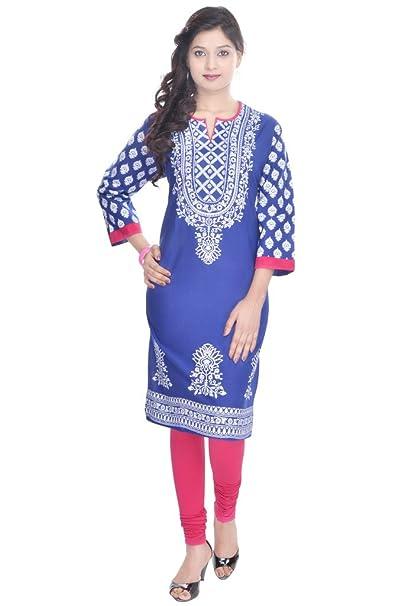 eca3bd8fa68 Vihaan Impex Indian Kurtis for Women Kurti Kurtas for Women Bust Size 42  Inches Blue Kurti