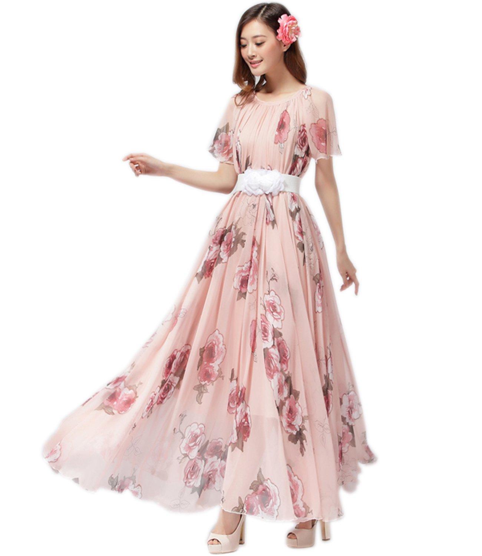571d448f53 Medeshe Women's Chiffon Floral Holiday Beach Bridesmaid Maxi Dress Sundress  larger image