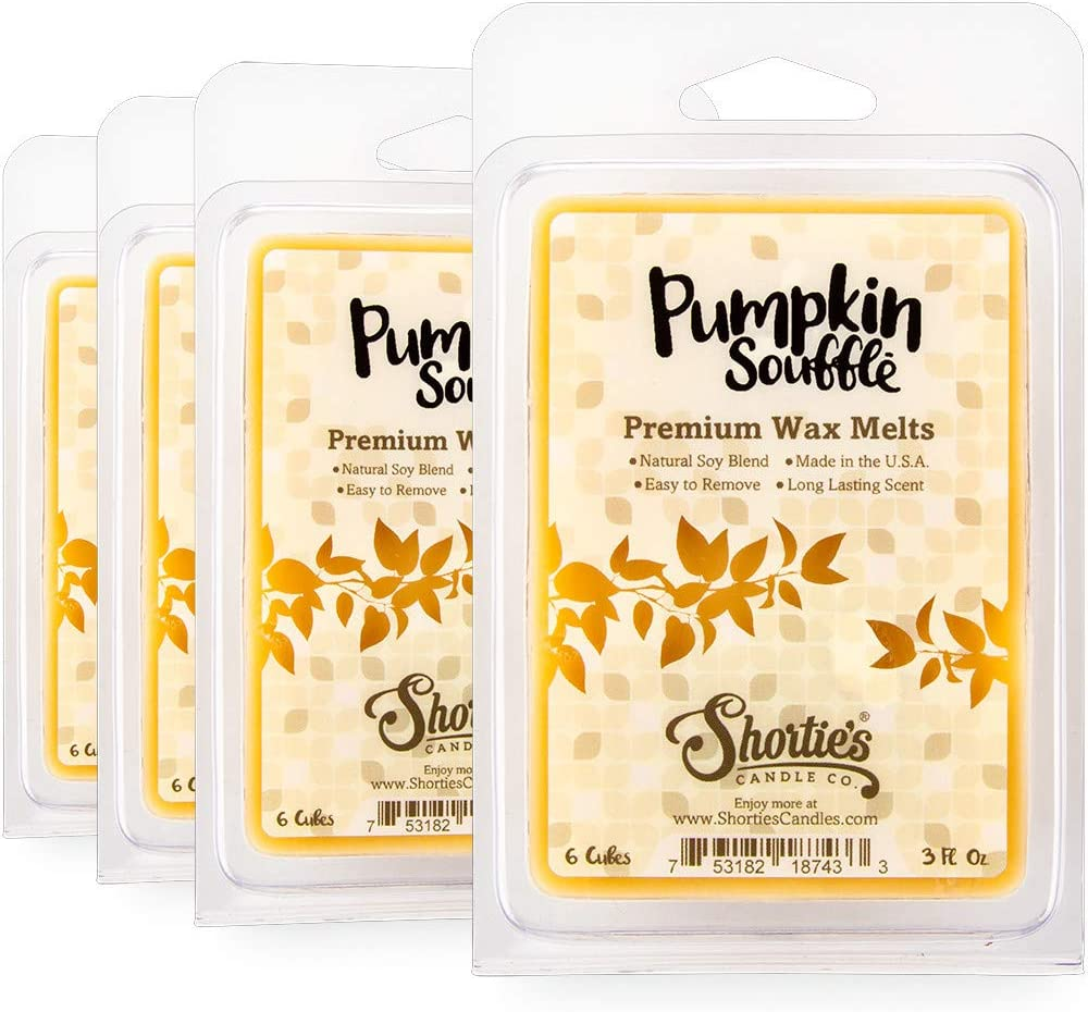 Shortie's Candle Company Pumpkin Souffle Wax Melts Bulk Pack - New Wax Blend - 4 Highly Scented Bars - Made with Natural Oils - Bakery & Food Air Freshener Cubes Collection