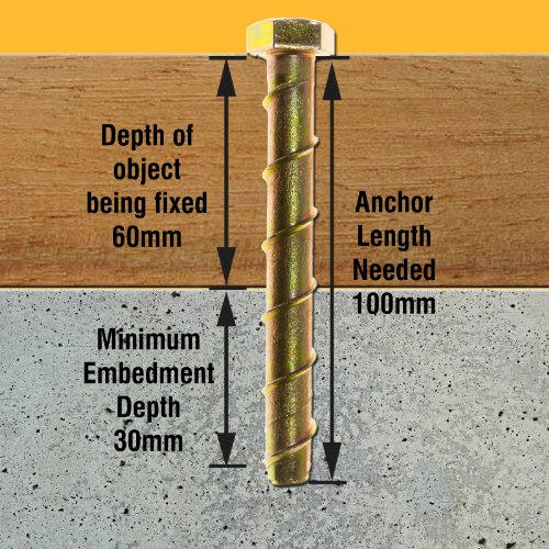 10 x 100mm M8 Concrete Self Tapping Anchor, Bolt / Screw, with a hex head,  fixes to brick, stone, masonry & marble etc