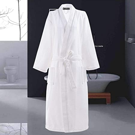 XUWLM Albornoz- Albornoz de algodón Hombres de Manga Larga Bata para Hombre Sudor Evaporar Parejas Batas de baño Kimono Hotel Batas de baño SPA, Blanco, Línea Blanca, XL: Amazon.es: Hogar