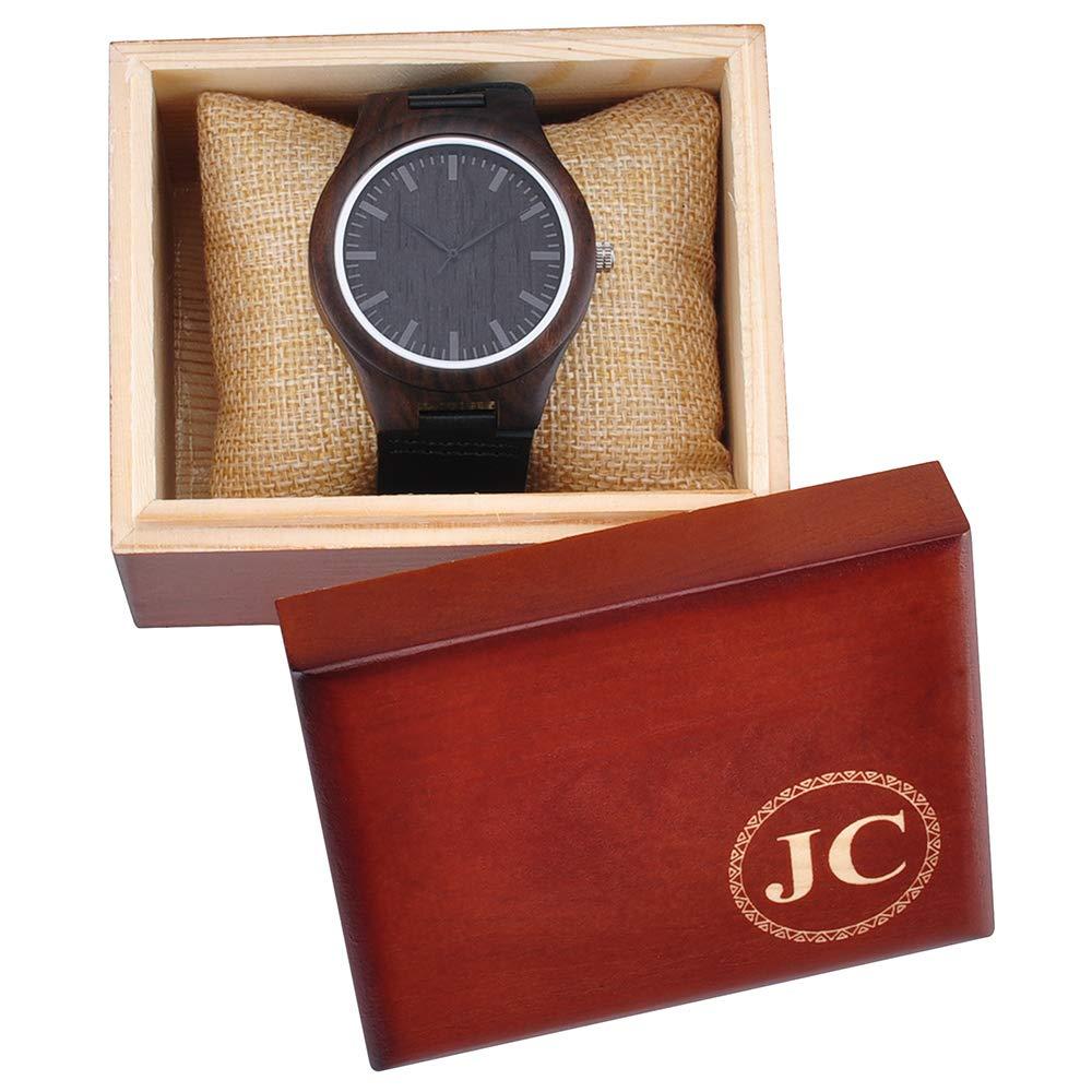 Reloj de Madera de Nogal Personalizado con Caja de Madera, Reloj Grabado, Regalo Personalizado para Novio: Amazon.es: Relojes