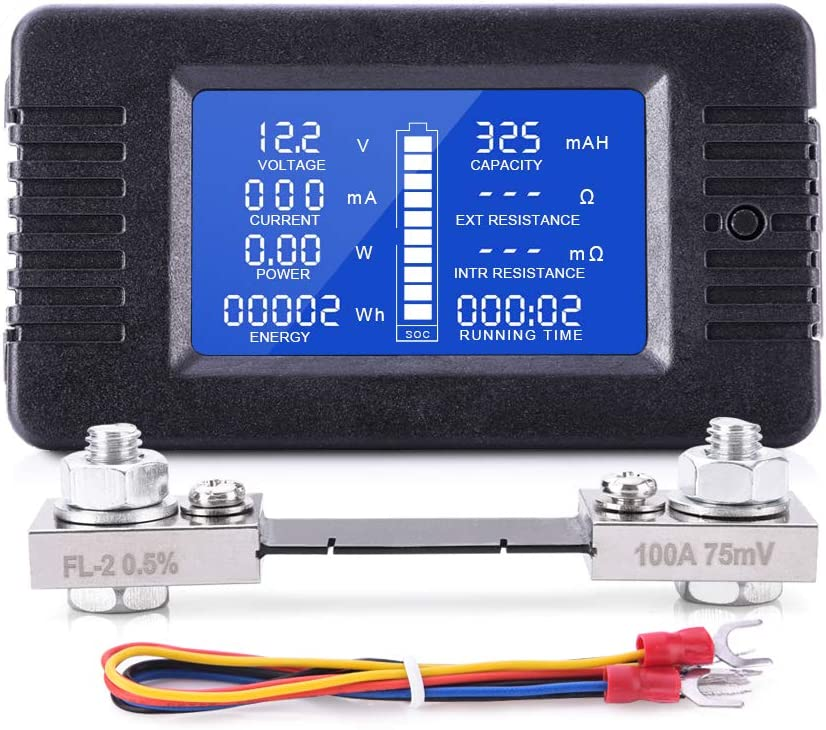 MNJ MOTOR DC Multifunction Battery Monitor Meter for Cars RV Solar System